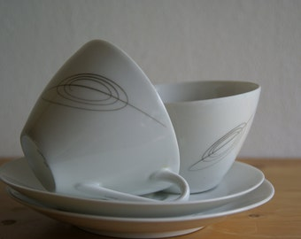 Arzberg Germany teacups 1950 graphic design