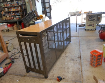 Store Front Desk, fabricated in steel and fine woods, one drawer and three shelves