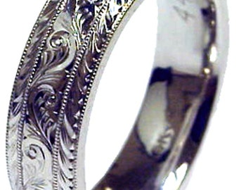 New HAND ENGRAVED Man's 14K White Gold 8 mm wide Wedding Band ring Comfort Fit custom size made to order