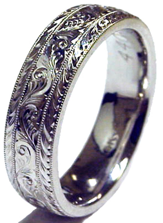 New HAND ENGRAVED traditional pattern Men s Platinum 6 mm