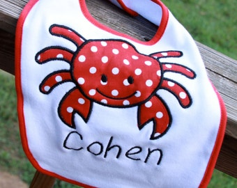 Personalized Crab burp cloth OR bib
