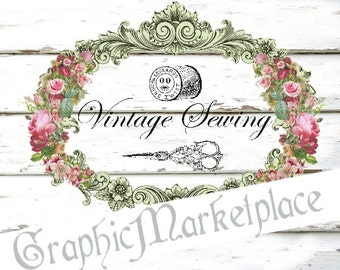 Vintage Sewing Instant Download  Shabby Transfer Burlap sew digital graphic printable No. 344