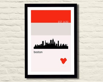 Boston Poster Art Print 11 X 17 City Skyline, Minimalist, Red