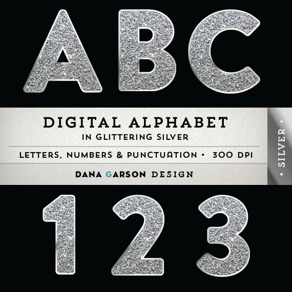 Sparkling Silver Alphabets: Glitter Digital Alphabet In Silver For By DanaGarsonDesign