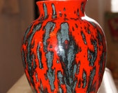 made by a woman named Cathy 1980s glazed red green and black vase - PEACOCKPIES
