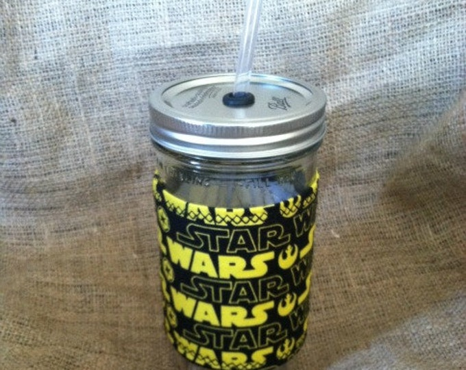 Mason Jar Tumbler 24oz Star Wars  Insulated Cozy Polka Dot Straw BPA Free - Travel Mug Great Gift