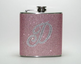 PInk Champagne Personalized Rhinestone Sparkly Glitter 4, 6 or 8 oz Size Liquor Hip Flask Flasks Weddings Bridesmaids Gift Idea