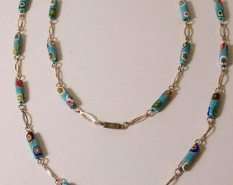 1970s Millefiori Glass Bead Necklace
