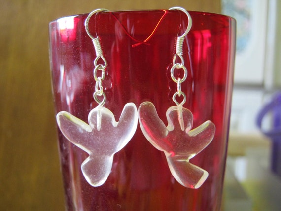Handmade Silver Earrings with Rock Crystal Guardian Angels by IreneDesign2011
