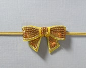 GOLDEN YELLOW Small Sequin Bow Skinny Headband - AnaMaeDesign
