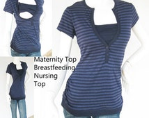 LIVIA Maternity Clothes /Nursing Top /Breastfeeding Top NEW Maternity Clothing NAVY Stripe /Maternity Top Nursing Shirt Tops Pregnancy
