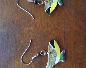 Vintage hand cut and painted leather earrings - Yellow Breasted Chat Bird