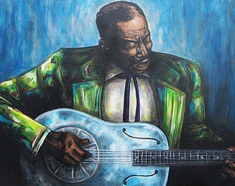 """Son House Canvas Print of Original Painting 19""""x38"""""""