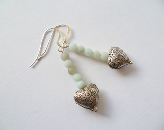 Amazonite and thai silver earrings