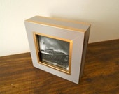 Small grey and gold picture frame