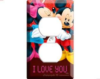 new Mickey and Minnie Mouse kissing in love outlets light switch cover plate children room bedroom decoration