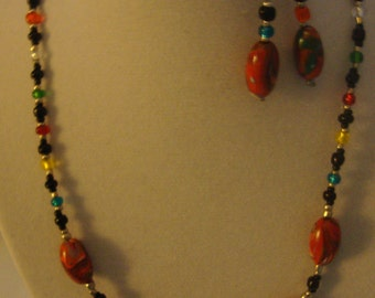 Polymer clay and glass bead necklace and matching earrings