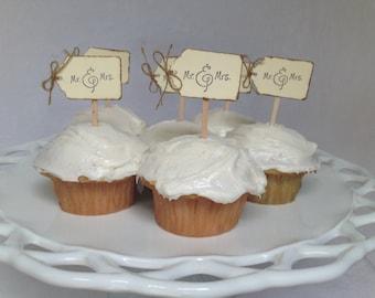 Mr. & Mrs. Wedding Cupcake Toppers Rustic Burnt Cream Burlap Vintage Set of 24