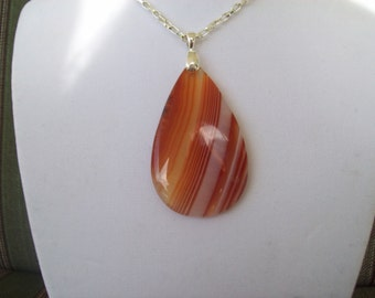 Orange Striped Agate Pendant