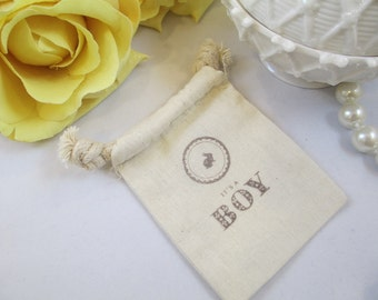 Muslin It's a Boy Favor Bags, Cotton Boy Baby Shower Favor Bags, Drawstring Cotton Baby Boy Favor Bags, Organic Cotton Hand Stamped Gift Bag