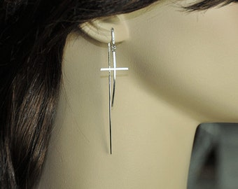 Sterling silver cross dangle earrings, sterling silver ear threads