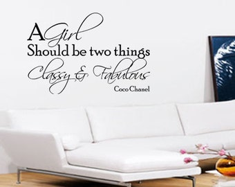 Classy And Fabulous Coco Chanel Wall Art - Vinyl Wall Art Sticker Decal - Living Room, Bedroom, Hall