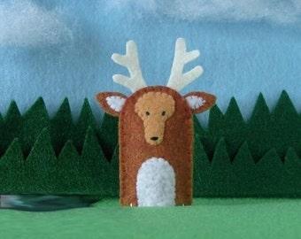 Buck Stag Deer Finger Puppet - Deer Puppet - Felt Animal Puppet Woodland Deer