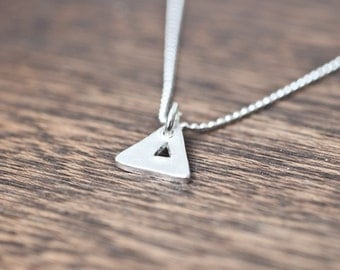 simple triangle necklace - small triangle necklace - tiny triangle necklace - silver triangle necklace - sterling silver triangle