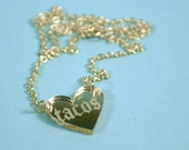 Gothic Tacos Heart Gold Mirror Acrylic Necklace
