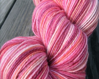 PRETTY IN PINK Handspun 3 Ply Superwash Sock Yarn