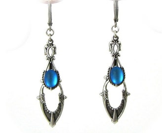 Art Deco Style Drop Earrings in Silver with Vintage Cerulean Blue Glass Cabochons