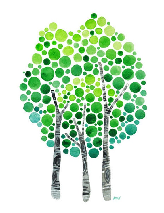 Watercolor Art Serenity BirchTree Art Print Landscape Painting Green Watercolour Wall Art