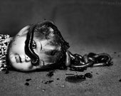 Theres Something In My Eye - FREE SHIPPING Surreal Photo Print Black & White Still Life Image Worms Doll Head Dirt Face Dark Creepy Wall Art