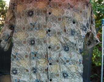 Vintage 90s Bruno Rayon Abstract Graphic Tribal Short Sleeve Baggy Shirt Size Large