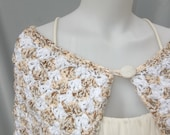 Scalloped Pristina Shawl Capelet - Rustic Oatmeal Colorway - OOAK