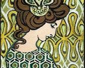 Peridot Goddess - Art Deco Goddess 5x7 Blank Greeting Card