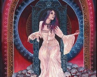 Persephone Queen of the Underworld Goddess 8x10 Fine Art Print Pagan Mythology Bohemian Gypsy Witch Goddess Art