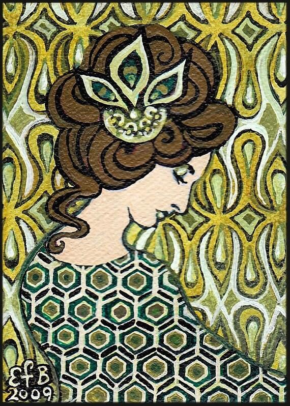 Peridot Goddess Art Deco Goddess 5x7 Blank Greeting Card