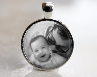 Personalized Custom Photo Pendant, Necklace or Key Chain - Choice of Bezel Color - One Inch Round