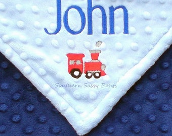 Personalized Baby Boy Blanket , Baby Boy Train Blanket - Custom Embroidery Options Available