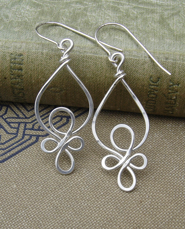 celtic loops sterling silver wire earrings celtic jewelry