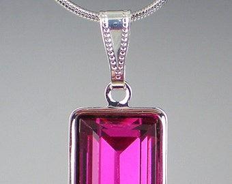 Fuchsia Rhinestone Necklace Swarovski Raspberry Pink Wedding Jewelry Bridesmaid Jewelry