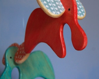 Baby Mobile Elephants - Red and Teal - Mobile for a Modern Nursery or Play Room