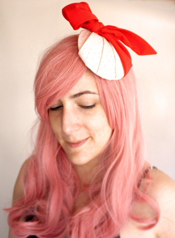 Retirement Sale - Ms. Sweets Clam-shell Fascinator - Cocktail Hat pastel pink and red