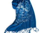 Constellation print scarf. Milky Way Galaxy pashmina. Night Sky Celestial star print. Ice blue print on cobalt and more. For men or women.