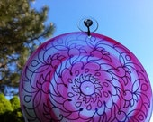 Hot Pink Swirl Mandala Suncatcher - Psychedelic Geometric Spiral Design Made From Recycled Materials - Bohemian Home Decor