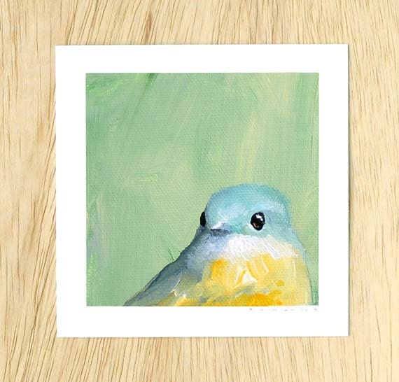 Will You Please Put Down That Us Magazine And Listen To Me 5 x 5 Art Print - Bird - Bluebird - Animal - Nature - Gift - Mincing Mockingbird