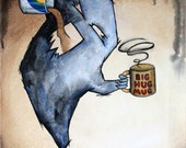 Morning Problems - 8x10 Art Print - Shadow Monster Addicted to Coffee Drinking out of Big Hug Mug - Art by Marcia Furman