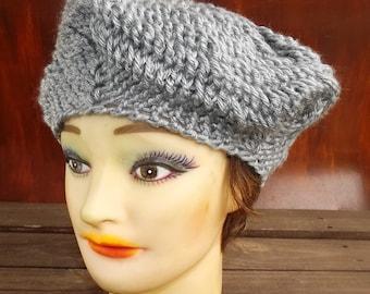 Crochet Hat Womens Hat, Womens Crochet Hat, Crochet Beret Hat, Gray Hat, Gray Crochet Hat, CHRISTINE Womens Crochet Beret Hat