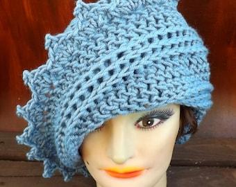 Light Blue Crochet Hat Womens Hat, Crochet Beanie Hat, Stonewash Light Blue Hat, Blue Crochet Hat, LAUREN Beanie Hat for Women